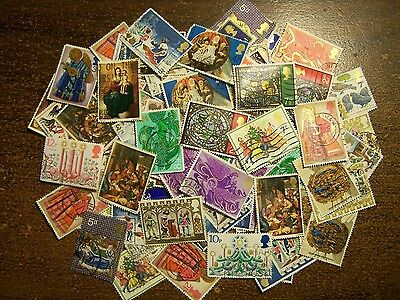 100 Large Christmas Stamps from Great Britain UK England, Free Shipping