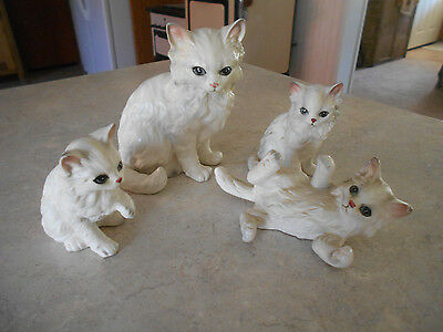 Vintage Lefton Persian White Gray Mommy Cat and 3 Kitten Figurines