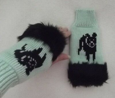 FRENCH BULLDOG dog on NEW knitted adult size mint FINGERLESS GLOVES