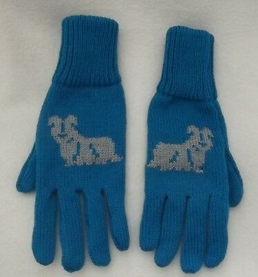 SKYE TERRIER dog on NEW knitted adult size GLOVES Kingfisher blue colour