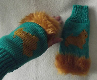 NORWICH TERRIER dog on NEW knitted adult size FINGERLESS GLOVES with fur trim