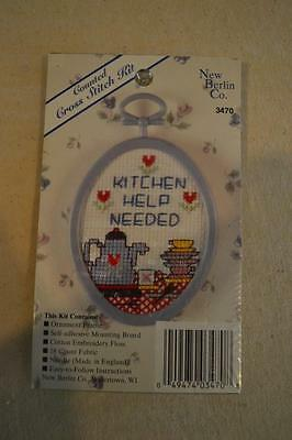 """Counted Cross Stitch Embroidery Kit: """"Kitchen Help Needed"""" FREEPOST IN AUSTRALIA"""