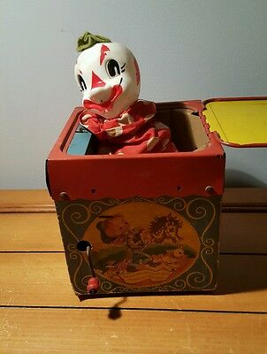Vintage Mattel Clown Jack In The Music Box 1950s Jolly-Tune