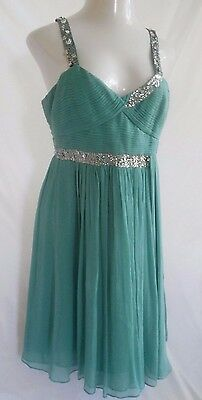 BCBG Maxazria 12 dress green chiffon Lined Sequined Crinkle Snagged Costume
