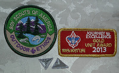 NOS Boy Scout Patches New Old Stock Outdoor Ethics / Gold Unit Award 2 Triangles