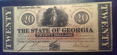 1862 $20 The State of Georgia Obsolete Note