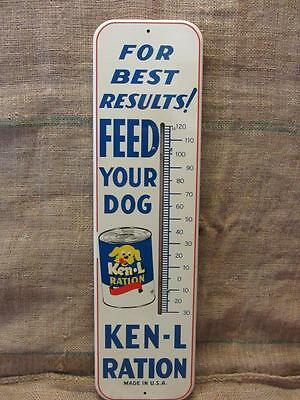 Vintage Ken-L-Ration Dog Food Thermometer Sign   Antique Puppy Feed RARE 9656