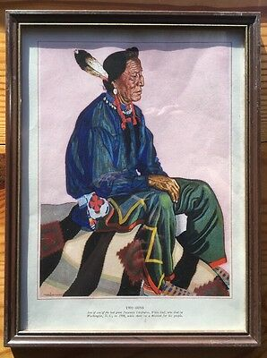 Vintage Framed Print Reiss Native American Indian Two Guns Railway Portrait