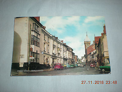 Old Used Postcard by Salmon Camercolour of Cross Street Abergavenny