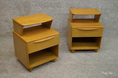 HEYWOOD WAKEFIELD Encore Wheat MD Century Modern Pair Nightstands 2 End Tables
