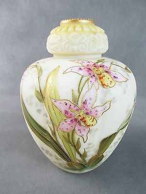 "c1890 SMITH BROTHERS Mt Washington Glass 9"" VASE Tiger Lilies~~Best I've Seen!"