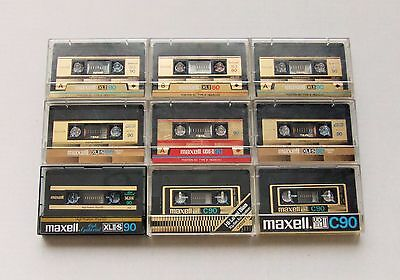 9 Vintage Maxell High Bias Audio Cassette Tapes