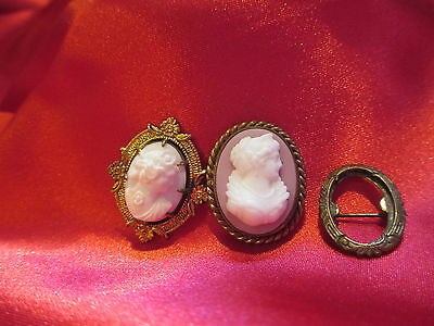 Lot of 3 Vintage Antique Shell & Glass Cameos + Parts for Repair or Crafting