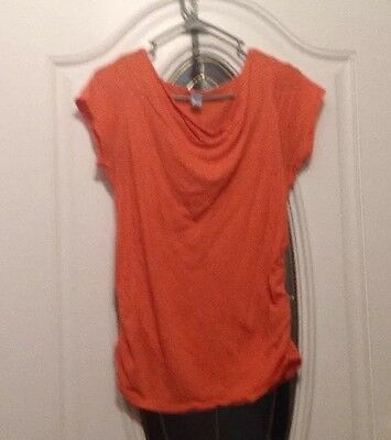 OLD NAVY Maternity Short Sleeve Orange Size M Runched shirt
