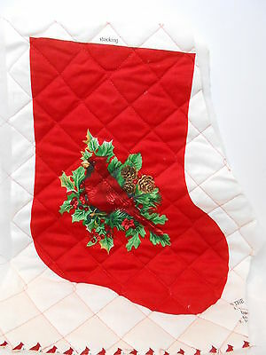 """VINTAGE Christmas Fabric Panel QUILTED 11"""" CHRISTMAS STOCKING Cardinal & Holly"""