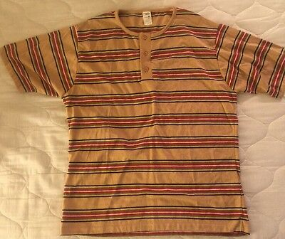 NOS Vintage 1970s Jcpenney's Short Sleeve Henley Striped Shirt XL