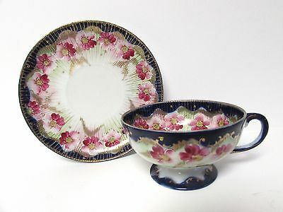 ANTIQUE FLOW BLUE CUP & SAUCER w/ GOLD TRIM PINK FLOWERS FOOTED CUP