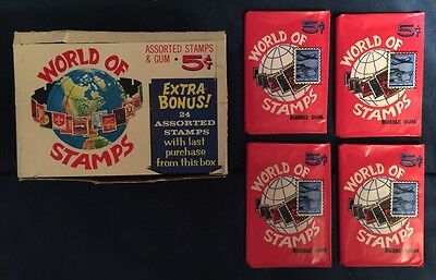 1965 Donruss World of Stamps Wax Packs of Stamps (4) Unopened With Gum + Free SH