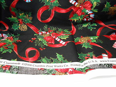 VINTAGE Christmas Fabric remnant .75 yard CANDY CANES Ribbons PINE CONES