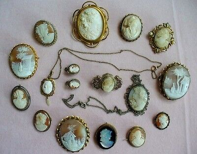 Antique Victorian GF Silver Genuine CAMEO Jewelry lot pendants brooch/pin ears