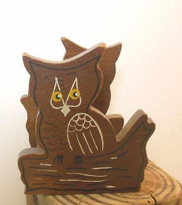 """Wooden Owl Mail Catcher Holder 3 x 3 x 3"""" Vintage Hand Painted"""