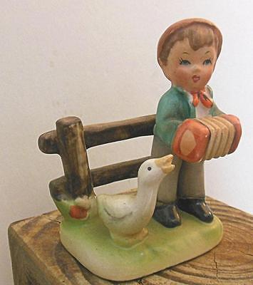 """Napco Boy Figurine with Goose 1959 3"""" Hand Painted Japan"""