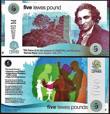 England- Lewes : The 1st of 4 different Local Currency £5 Banknotes from Lewes,