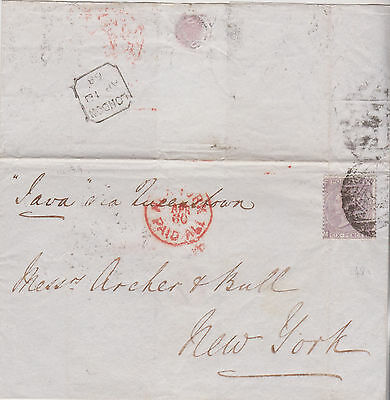 1868 QV LONDON WRAPPER WITH SG107 6d VIOLET STAMP PLATE 6 MAILED TO NEW YORK
