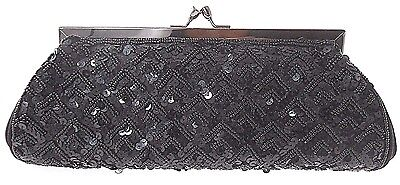 Carlo Fellini Black Sequin Beaded Evening Bag With Long Chain $85.