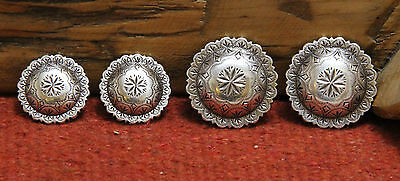 """Two 1-1/4"""" & Two 1"""" Antiqued Silver Vintage Style Conchos Starburst Center NEW"""
