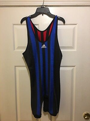 MENS Large ADIDAS REVERSIBLE Wrestling Singlet Striped Red Blue USA Polyester