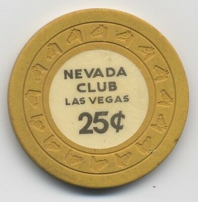 Nevada Club 25 cent Las Vegas Downtown old HHL mold casino chip R-7