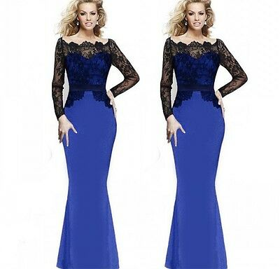 Women Formal Lace Long Dress Prom Evening Party Cocktail Bridesmaid Wedding XL
