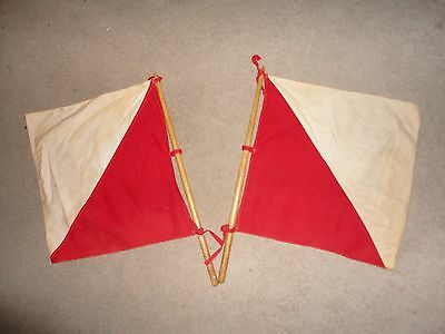 Vtg WWII US Army Signal Corps 2 Red & White Flags 2 Wood Poles ~
