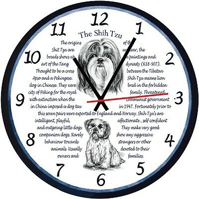 Shih Tzu Dogs  Origins & Facts Gift Boxed Wall Clock