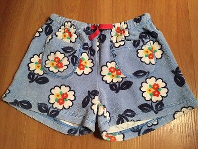 Mini Boden Girls 7y Blue Floral Terry Towel Shorts
