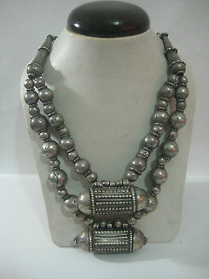 Vintage Antique Old Handmade Ethnic Tribal Bedouin Silver Necklace