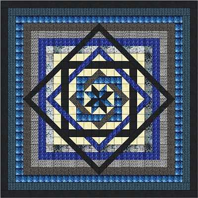 Easy Quilt Kit/Tumbling Star/Blues/Black/King /Pre-cut Fabrics Ready To Sew****!