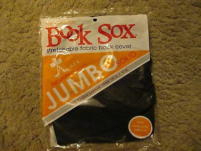 NEW The Original Book Sox Jumbo Solid Stretchable Fabric Book Cover Black
