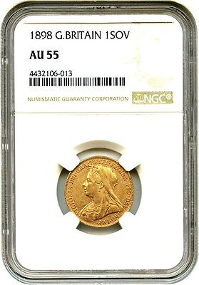 Great Britain: 1898 Gold Sovereign NGC AU55 (KM-785) .2355 oz Gold