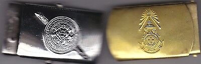 2 unknown thailand belt buckles 1 maybe red cross