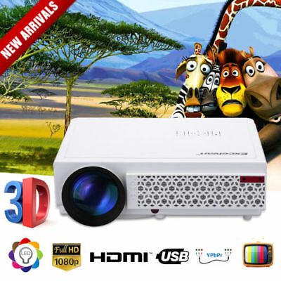 Excelvan LED 3D 5000 Lumens HD 1080P Home Projector Theater HDMI USB VGA YPBPR