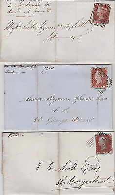 1843-54 JOB LOT OF TWELVE QV COVERS ALL WITH 1d PENNY RED IMPERF STAMPS !!