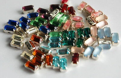 VINTAGE GLASS SEW ON EMBELLISHMENT OCTAGON GEM BEADS 4X8mm • ASSORTED COLORS