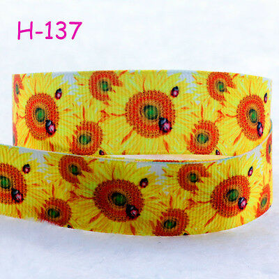 1yard NEW 22mm Sunflowers Printed Grosgrain Ribbon Bows Sewing Hairbow DIY Gifts
