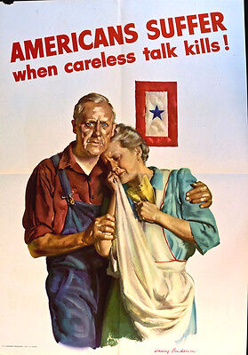 Americans Suffer From Careless Talk  Ww 2 -  Real Not Repr0 = Poster Scarce