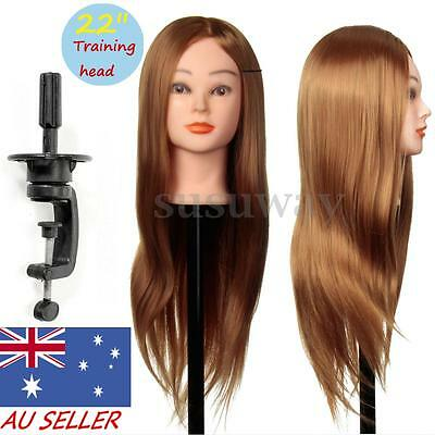 24'' 30% Real Human Hair Hairdressing Training Practice Mannequin Head +Clamp AU
