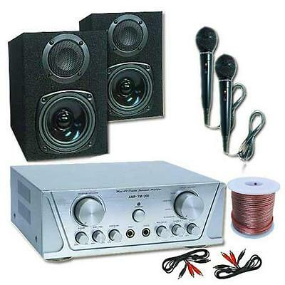 Pa System Dj Karaoke Set 200W Speakers Amp Microphones Complete Beginner Package