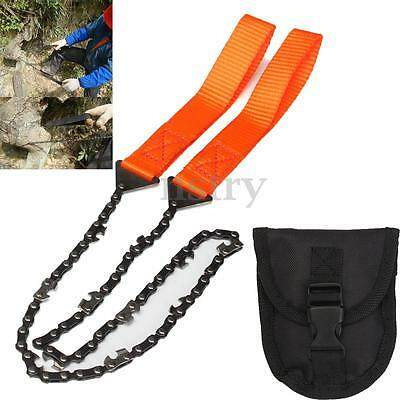Survival Hand ChainSaw Chain Saw Emergency Camping Gear Pocket Kit Tool w/ Pouch