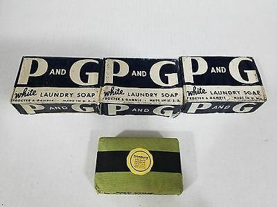 Lot of 4 Procter & Gamble P and G White Laundry Soap and Palmolive vintage soap